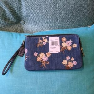 Double Zip Wallet With Painted Floral Box Print